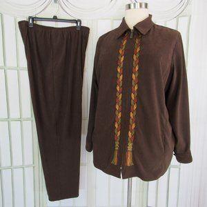Bob Mackie Wearable Art 1X 2 Pc Jacket w/Pants